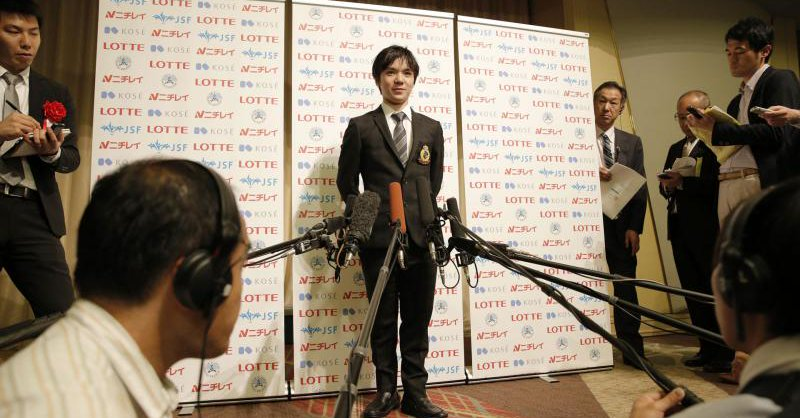 宇野昌磨が日本スケート連盟の優秀選手表彰祝賀会に出席し、シニアデビュー採点「100点…濃い1年」と自己採点。