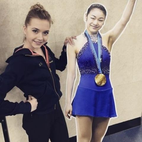 ロシア有望選手のラジオノワがキムヨナのアイスショーに招待され「キム・ヨナは私の憧れ」と伝える