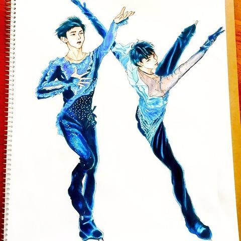 山本草太選手の氷上復活記念。尊敬する羽生先輩と並んでポーズをとる最高に青が似合うイラストがカッコいい