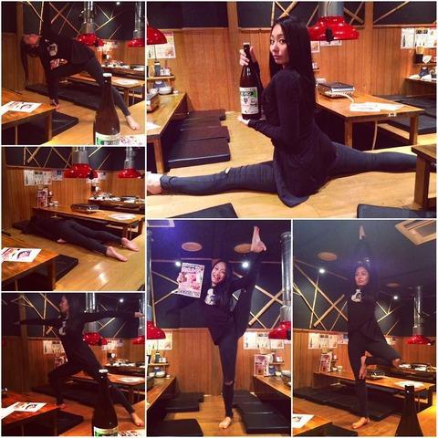 しなやかさは未だに健在。安藤美姫が居酒屋で開脚し体の柔軟さを披露。