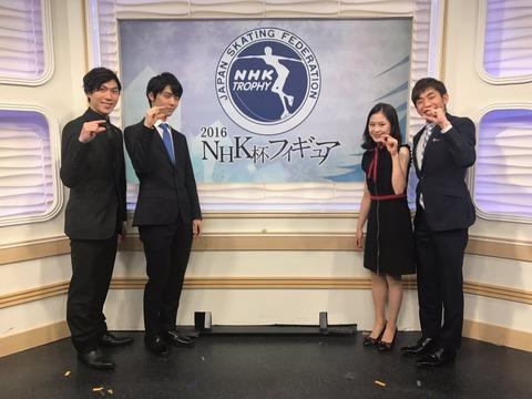 NHKサンデースポーツに羽生結弦・田中刑事・宮原知子らが出演。ハイテンションエピソードを披露し羽生選手の優勝を宮原さんが祝福する場面も