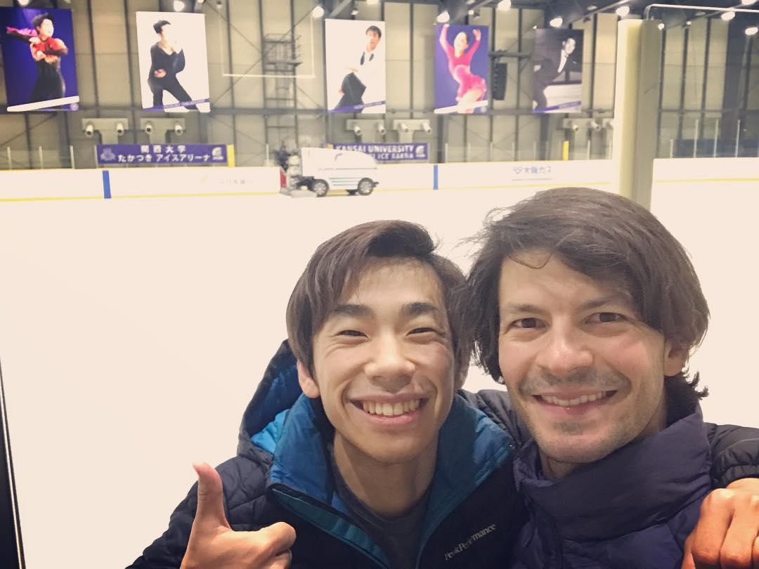 二人の笑顔が眩しい。ステファンランビエールと織田信成さんのツーショット写真を公開。