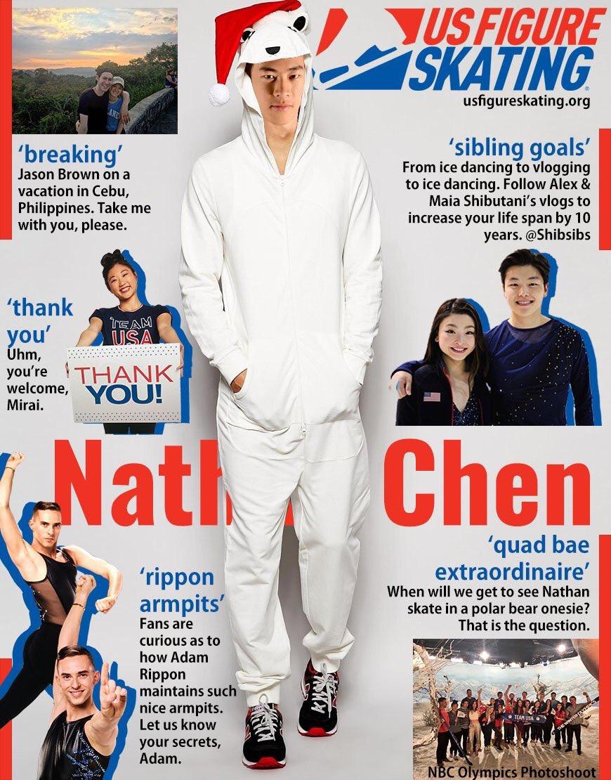 アメリカでも注目度上昇?ネイサン・チェンがしろくまの被り物をしてカッコよくポーズを決める。