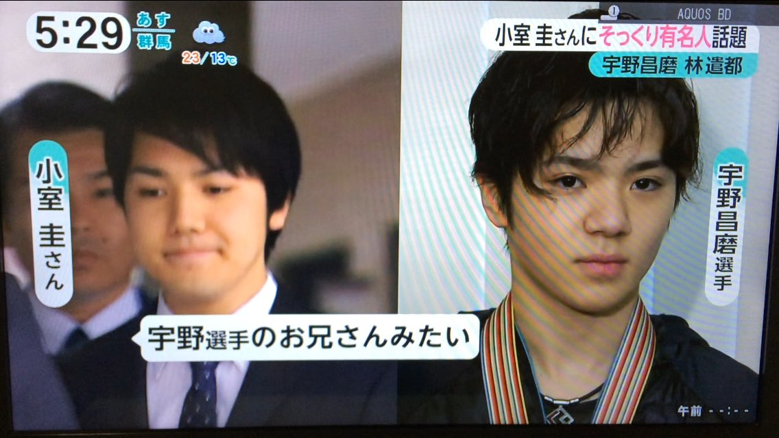 みんなのニュースで宇野昌磨選手と小室圭さんが似ていると報道。