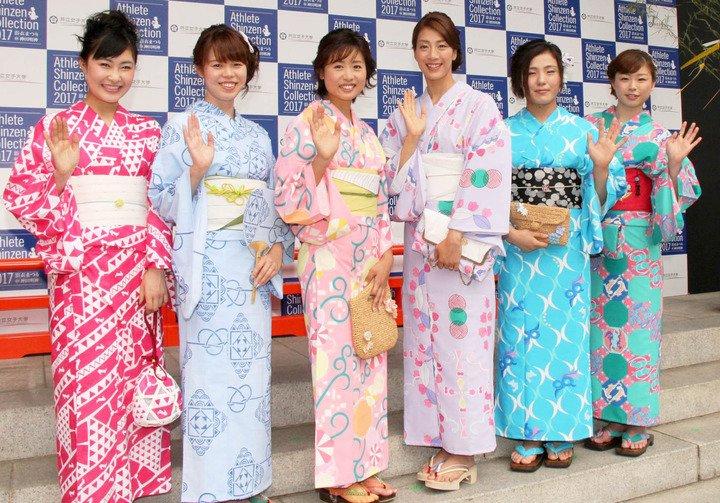 美女アスリートが勢ぞろい。村上佳菜子ら6人のアスリートが神田明神で浴衣ファッションショー