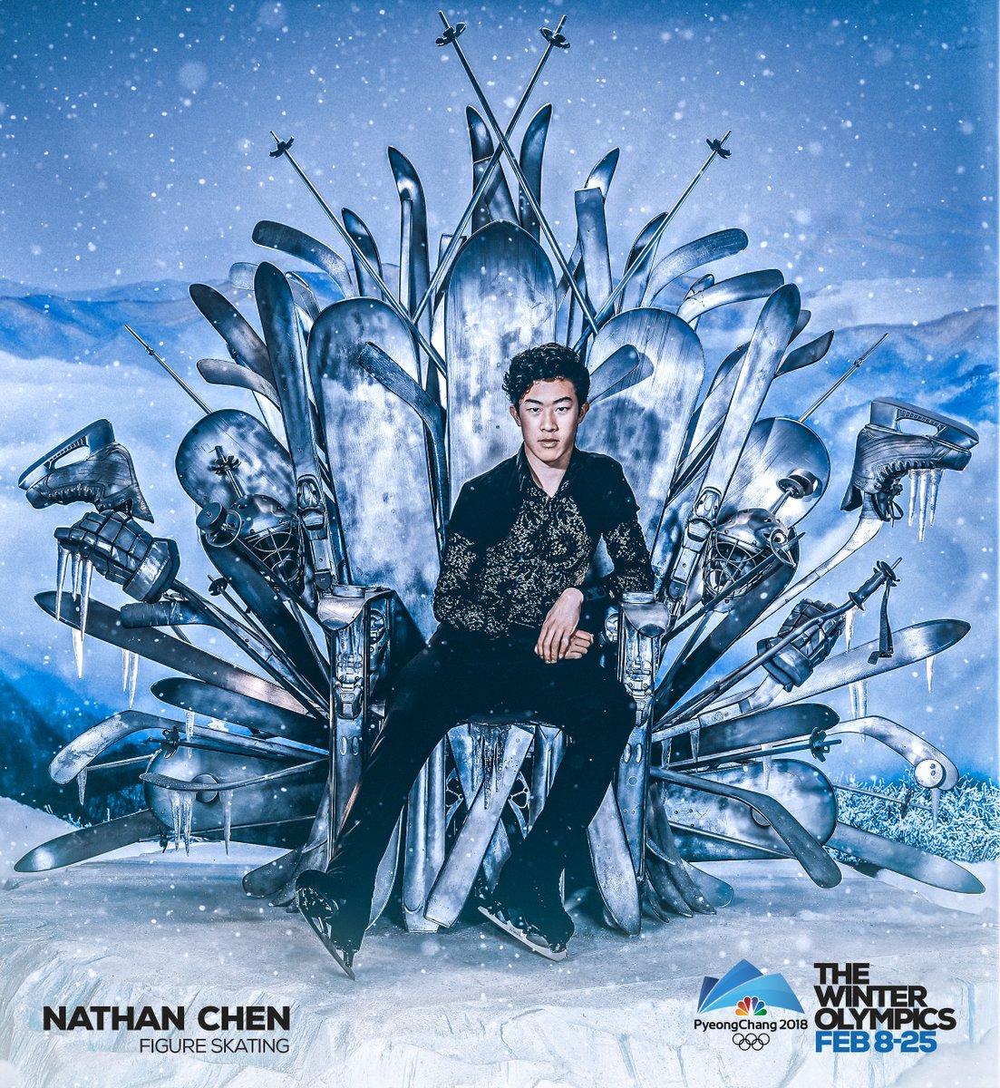 ネイサン・チェンのオリンピック広告ポスターが貫禄ある王者の風格