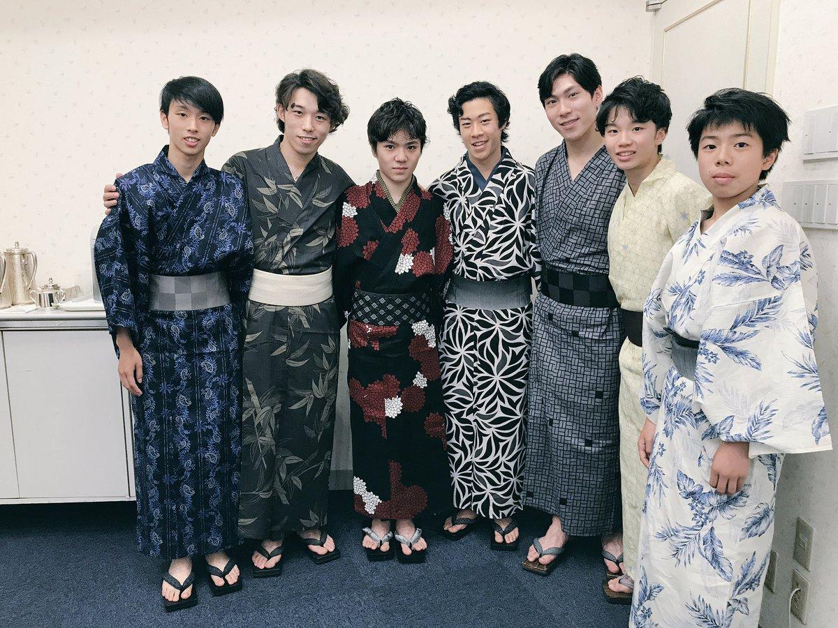 無良崇人・田中刑事・宇野昌磨・友野一希選手らが揃って浴衣姿を公開。みんなカッコいい
