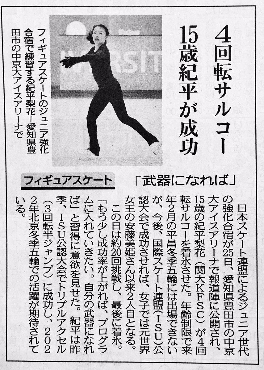 紀平梨花が練習で成功させた4回転サルコー。公認大会で決めれば安藤美姫以来史上2人目