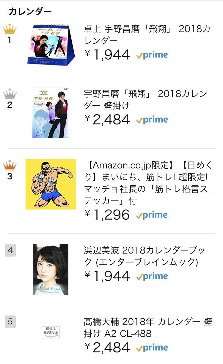 宇野昌磨選手のカレンダーがアマゾン売れ筋ランキング1位に!多くのファン念願の記念カレンダーに予約殺到