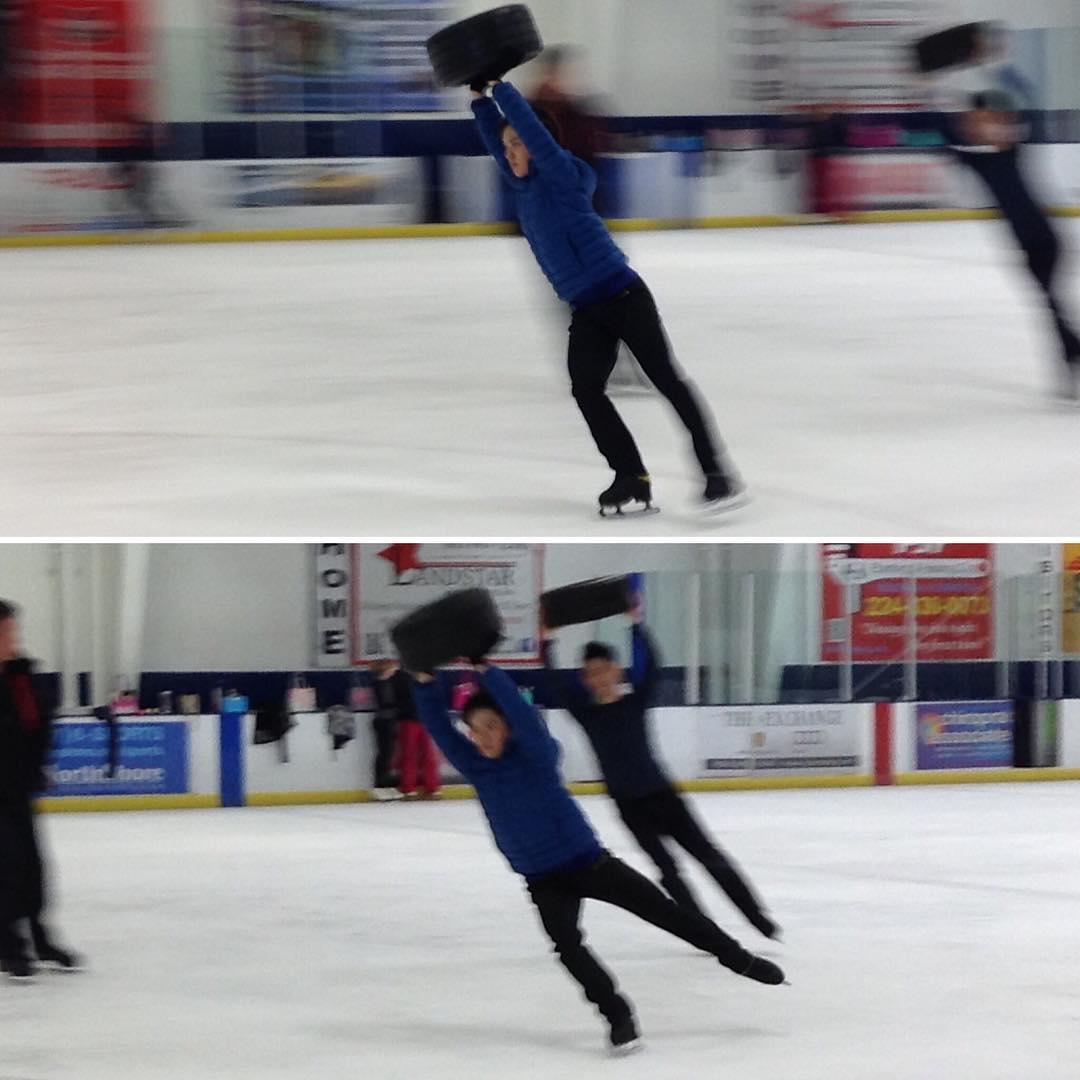 宇野昌磨選手がシカゴ合宿でタイヤを持ち上げながらスケーティングするトレーニングがかなりきつそう