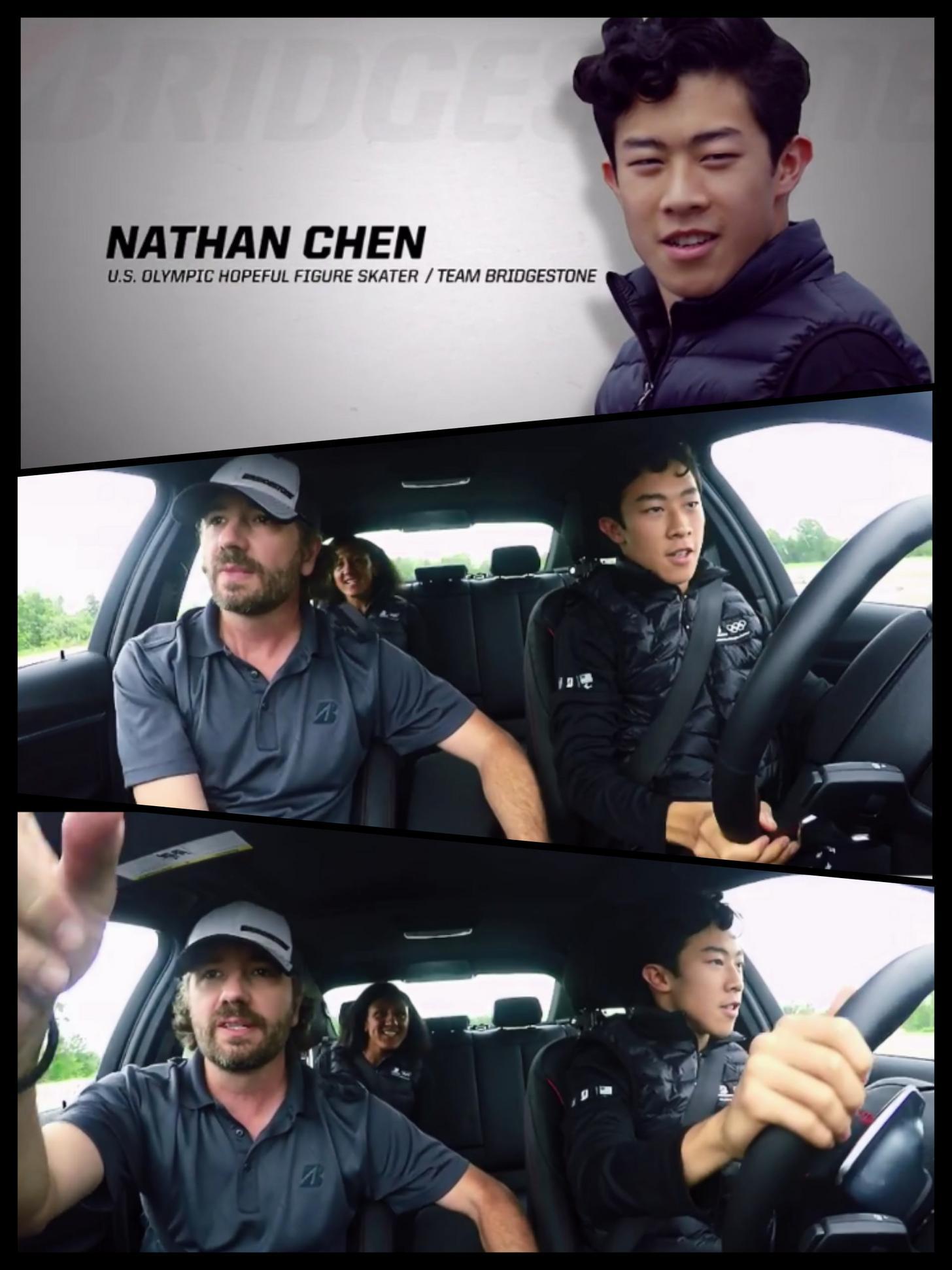 ネイサン・チェンがブリジストンのPR動画に出演し自動車を運転。ドライビングテクニックを披露