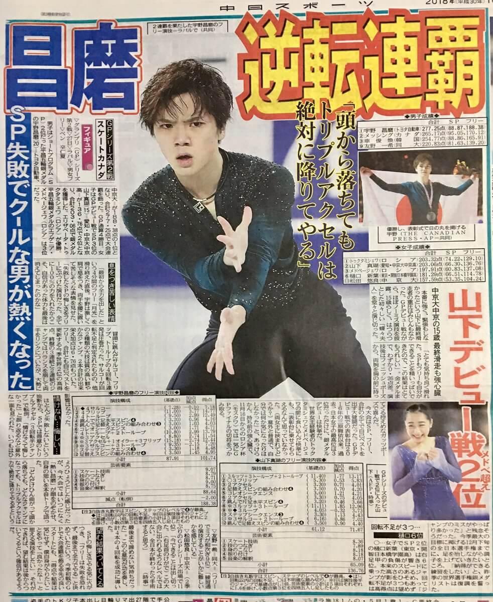 【GPS】スケートカナダ大会 宇野昌磨のニュース映像、新聞まとめ!