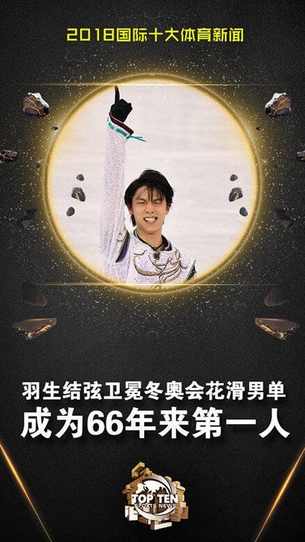 中国国営CCTVが選出する今年活躍したアスリート(国際部門)に羽生結弦が9位にランクイン!規模が凄いwww
