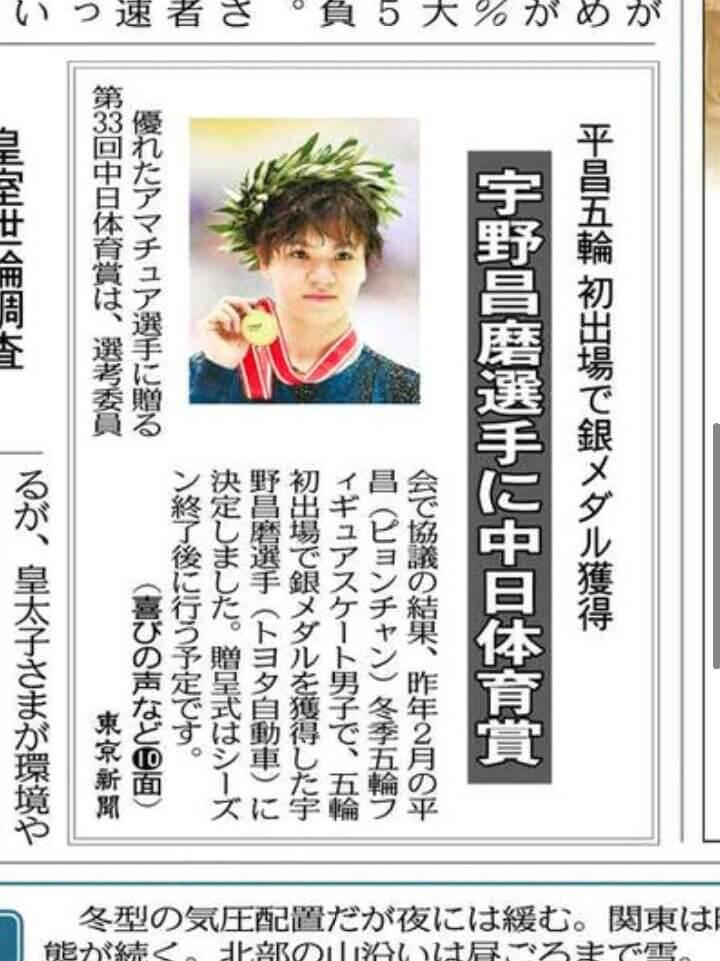 宇野昌磨が第33回中日体育賞を受賞!フィギュアスケート選手では6人目!