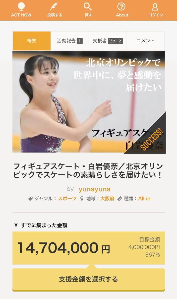 白岩優奈のクラウドファンディングが終了!計14,729,000円集まる!
