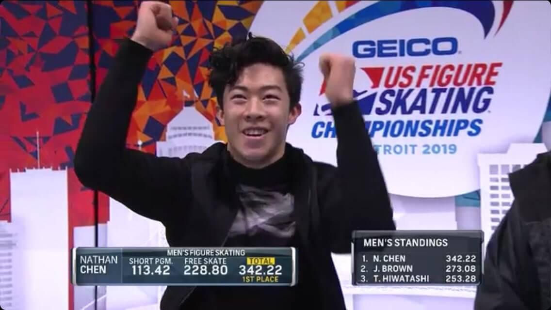 ネイサンは全米選手権の演技を世界選手権でやったら何点でたんだろ?