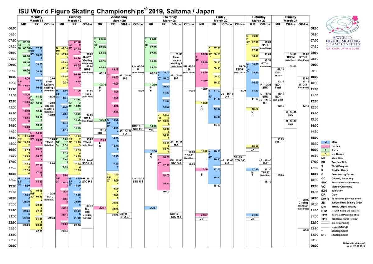 世界選手権のスケジュールがキター!