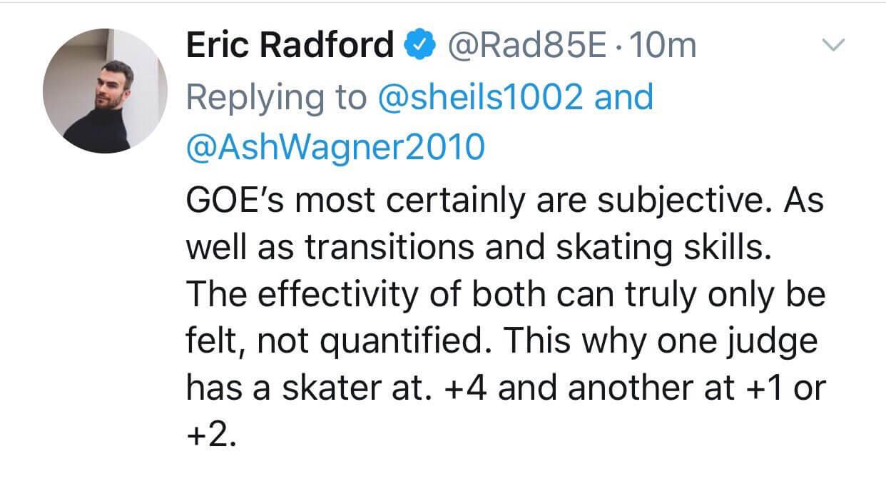 ラトフォード「GOEはほぼ間違いなく主観的なものだよ、トランジションもスケーティングスキルもね」