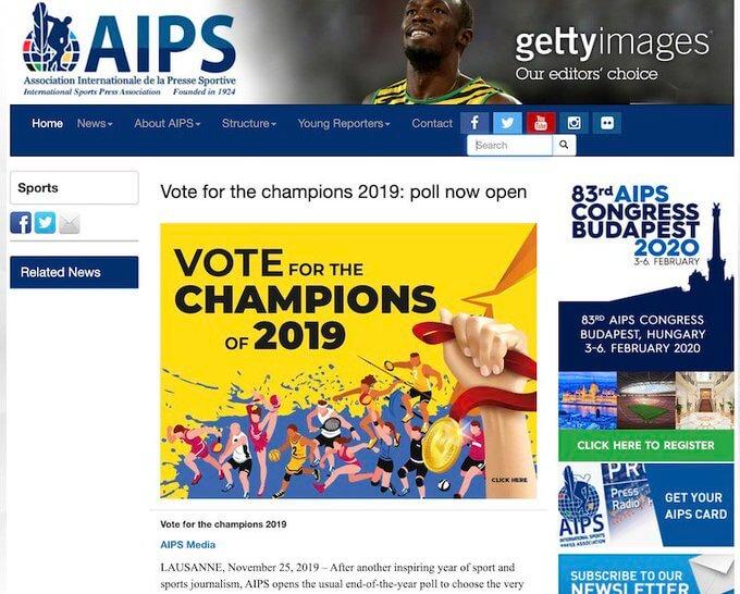 2019年アスリートオブザイヤー が12月31日に発表! フィギュアスケートの羽生結弦、バドミントンの桃田賢斗、ラグビーW杯日本大会などがノミネート、AIPS・国際スポーツプレス協会に所属する世界各国のスポーツ記者の投票で決定する。