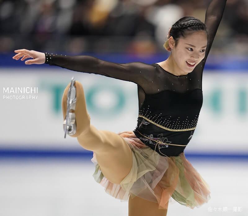 全日本フィギアスケート選手権 。女子FS、SPで7位だった  川畑和愛(N高東京)が、フリー128.43点、トータル193.96点で3位に入る!