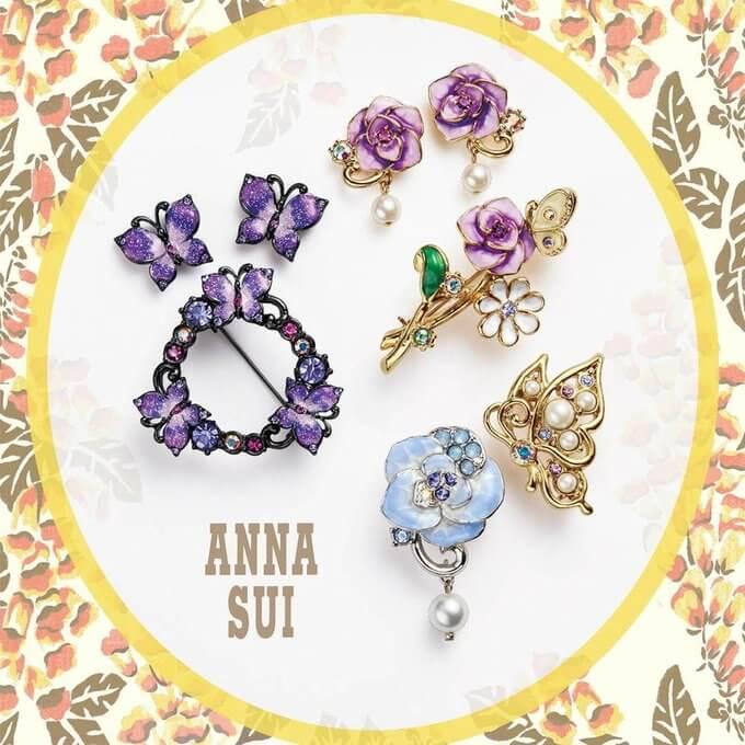 ANNA SUI…「ビジューを飾った蝶&バラの花のピアスやブローチ」 バラに蝶に紫ベースだとついつい 羽生結弦 を思い浮かべてしまう…元々ブランド自体がそういうデザイン多い気もするし偶然なののだろうか!?