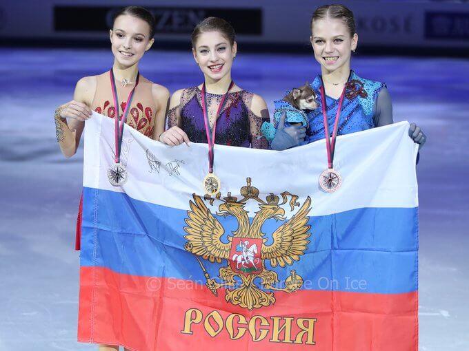 """グランプリファイナル2019 女子シングル ロシアの""""3天才""""が女子初の1カ国表彰台独占、Vの アリョーナ・コストルナヤ 「とてもうれしい」"""