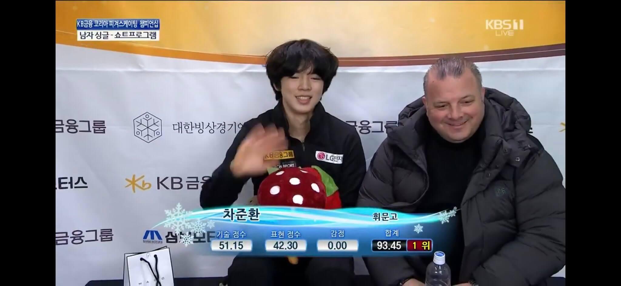 【映像あり】韓国フィギアスケート選手権 男子SP 1位 チャ・ジュンファン 93.45、2位 イ・ジュンヒョン 82.70、3位 イ・シヒョン 77.72。