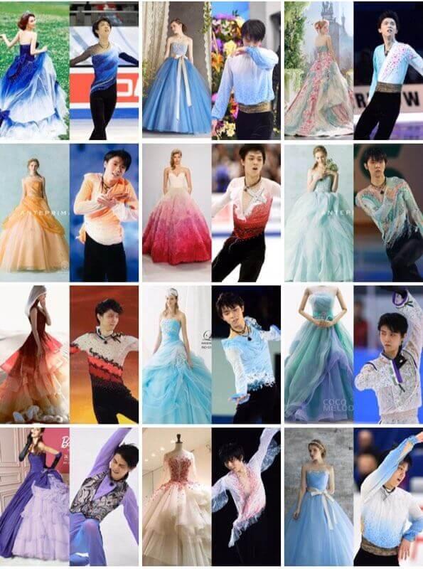 羽生結弦 の衣装っぽいドレス集! …SEMEI無理やりすぎる…紫Originのがいい…緑パリ散シックで綺麗…