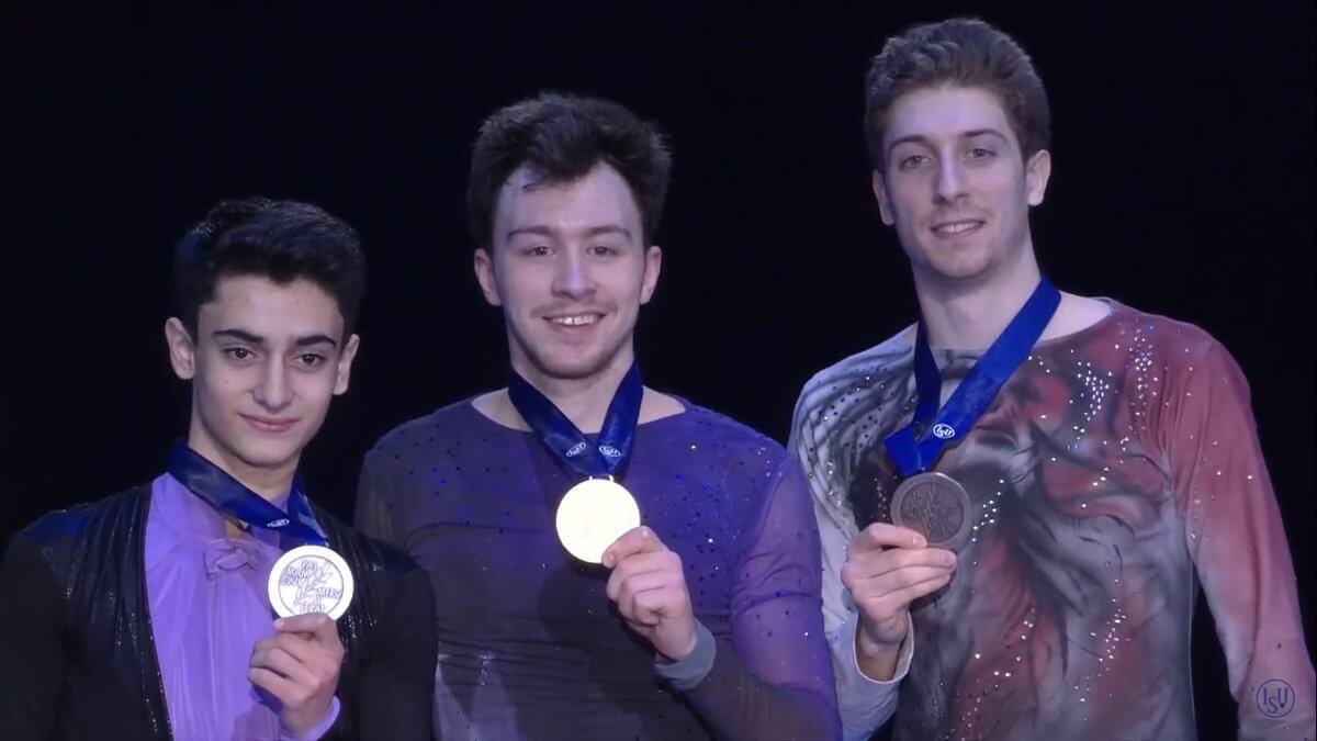 欧州フィギュアスケート選手権2020 男子シングル 最終結果 1位 アリエフ 272.89点、2位 ダニエリアン 246.74点、3位 モリス 246.7点。