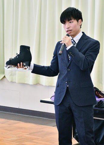 佐藤洸彬さん、大野小で公演!  …「海外の大会に出て、スケートに言葉は必要ないと知った。演技で人に気持ちを伝えられるのがスケートの楽しさ」…