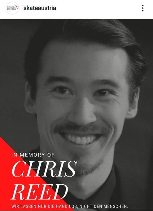 スケート・オーストリア がインスタにメッセージ! …「先週末亡くなられたクリス・リード氏のご家族や友人達と共に故人を悼みます」…