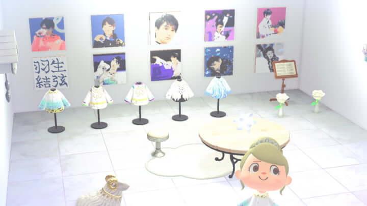 羽生結弦 衣装シリーズ 展示会へ ようこそ!  …壁に貼ってある羽生の絵凄い…こんなことも出来るんだ…