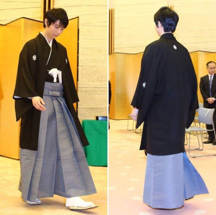 羽生結弦選手、羽織袴姿でした!  …「大変名誉ある賞をいただき、身に余る光栄です。…」…