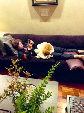 宇野昌磨のステイホーム写真に反響!  …「しょーまくんのお腹の上にあるのはお気に入りのタオルケット?」「トロお嬢ちゃまは、ちょっとおてんばちゃんかな?」…