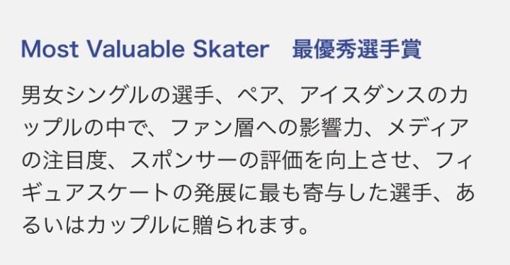 この条件なら羽生!  …「Most Valuable Skater」「最優秀選手賞」…
