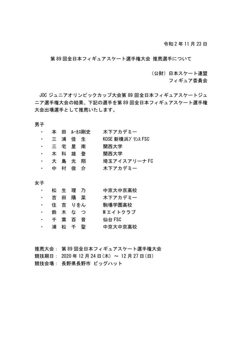 日本スケート連盟、全日本フィギュアスケート選手権大会 推薦選手 を決定!