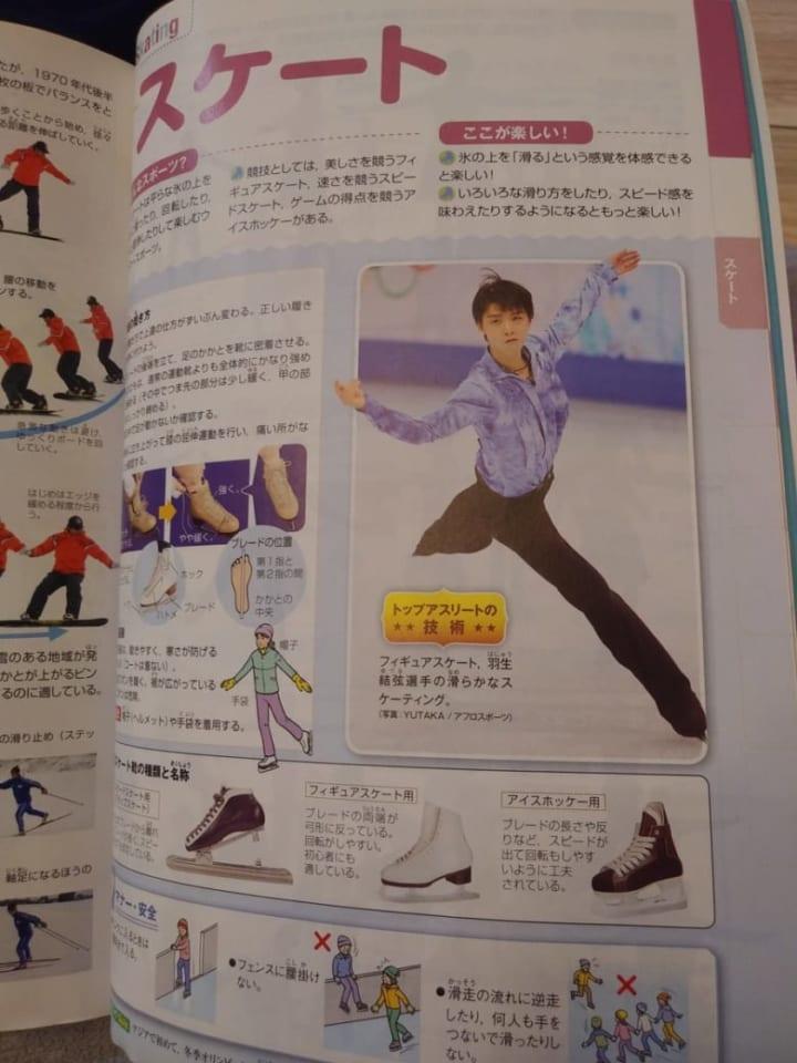 中学の体育の教科書に羽生結弦が載ってる!  …「中学生のお手本羽生」「足長い良い写真」…
