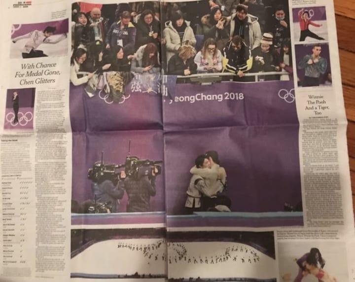 羽生とハビちゃんのハグ写真が見開き!  …@3年前の2/18 NY TimesのSports 版。…