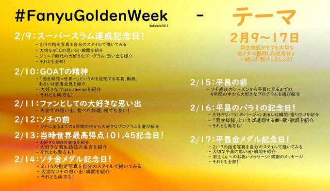 羽生クラスタの皆さん!  …2/9〜2/17 FanyuGoldenWeek 「改めて2月凄いなw」…