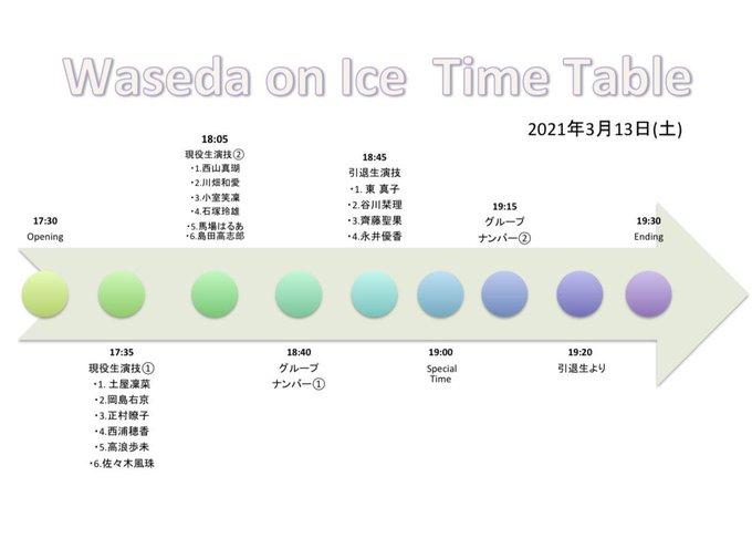 3/13 WASEDA ON  ICE、タイムテーブルが告知される!  …西山真瑚、川畑和愛、島田高志郎、永井優香ら…