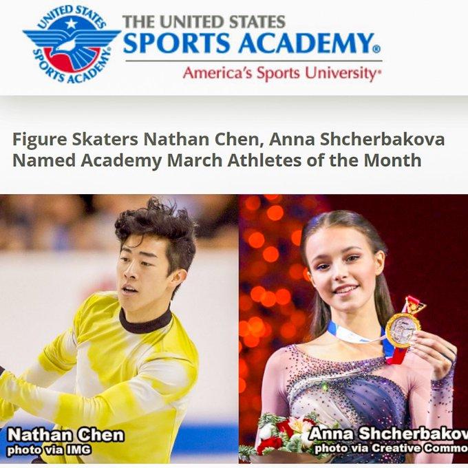 3月のアスリートオブザマンス、世界選手権で優勝した ネイサン・チェンとアンナ・シェルバコワが受賞!  …US SPORTS ACADEMY…