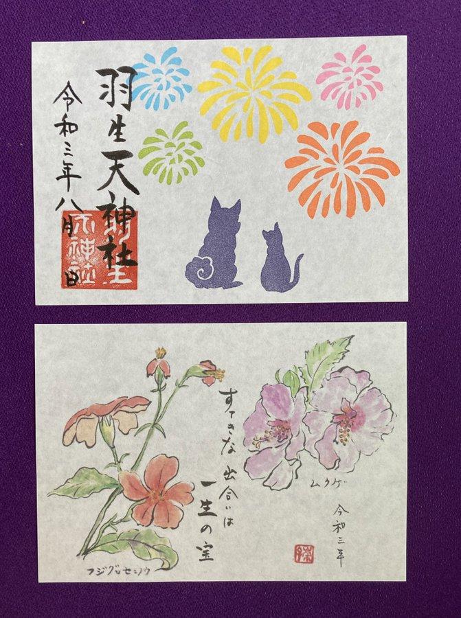 【投稿】夏らしく花火を打ち上げて 花火を見上げる後ろ姿 いかがでしょうか。 〜羽生天神社  8月の御朱印と添え紙〜