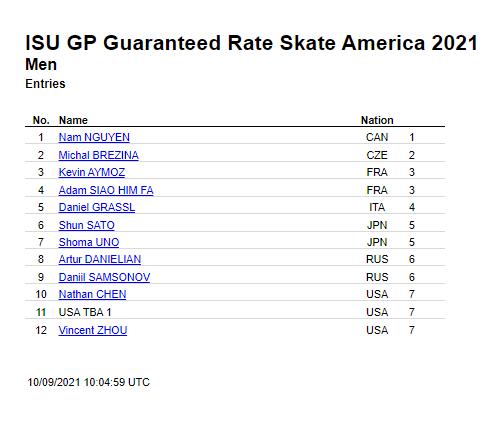 ISU GP Skate  America 2021 Entries 10/09/2021 〜宇野昌磨 佐藤駿 宮原知子 坂本花織ら〜