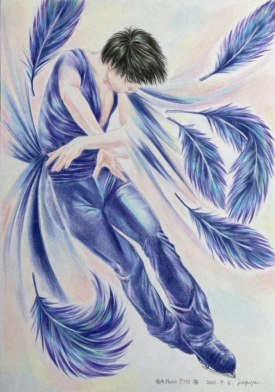 【投稿】対で描かれた羽生の色鉛筆画に「どうか健やかに その手に掴む階を 上り詰めてますように 祈りと願いを込めて」