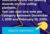 ISUスケーティングアワード 投票受付開始!  投票には事前登録が必要。一般の方は画像をクリックして お名前等を登録、登録したメールアドレスに届く確認メールのリンククリックで本登録完了。